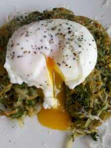 Kale and potato hash/rosti with parmesan and poached egg