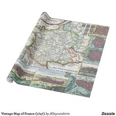 Vintage Map of France (1747) Wrapping Paper