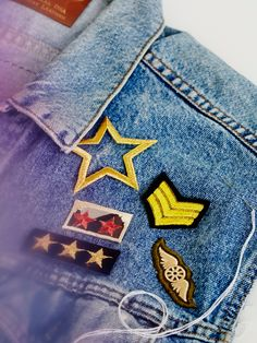 Vintage Patches Set of 5   Set of five vintage-inspired patches featuring military-themed designs. Simply iron on to your favorite jacket, vest, etc.