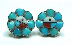 Native Old Pawn Jet Coral MOP Turquoise Earrings Sterling Silver GVM5729 #NA #Stud