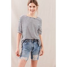 Urban Renewal Remade Knee Length Destroyed Short ($54) ❤ liked on Polyvore featuring shorts, distressed jean shorts, torn shorts, destroyed shorts, jean shorts and ripped denim shorts