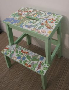 ikea step ladder with lick of paint and some wallpaper. If you filled in the gap could you make it a kids desk?