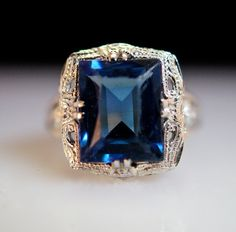 Blue Moon - Sapphire and 14k White Gold Ring.