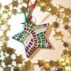 Christmas Decor, Ornament, Red Green Lime Star, Holiday Decoration, Glitter Star Ornament, Stocking Stuffer, Hostess Gift, Tree Ornament