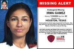 Missing From: WATERBURY, CT. Missing Date: Mar 1993 AM. Marisela's photo is shown age-progressed to 33 years. She was last seen on March Missing Child, Missing Persons, Houston Police, Houston Tx, Police Information, Harris County Sheriff, Miss Texas, Fort Campbell, Missing And Exploited Children