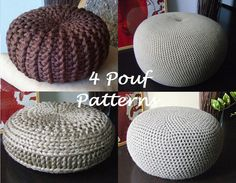 KNITTING PATTERN 4 Knitted & Crochet Pouf Floor por isWoolish