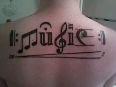 Back Music Tattoo Designs For Guys