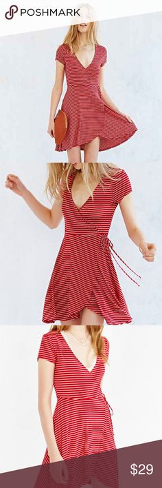URBAN OUTFITTERS Kimchi Blue Ballet Surplice Dress Really great faux wrap dress from UO. EUC. Red and white stripes. Very french, very cute, very flattering. Urban Outfitters Dresses Midi