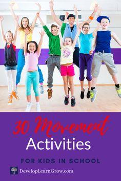 School Age Activities, Exercise Activities, Movement Activities, List Of Activities, Exercise For Kids, Kindergarten Activities, Physical Activities, Physical Education Curriculum, Brain Breaks