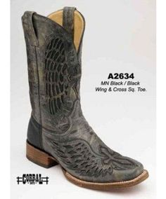 Corral Western Cowgirl Black Boots with Black Wings Cross Western Boots For Men, Cowboy Boots Women, Western Outfits, Cowboy Hats, Men's Shoes, Shoe Boots, Fashion Boots, Mens Fashion, Western Store