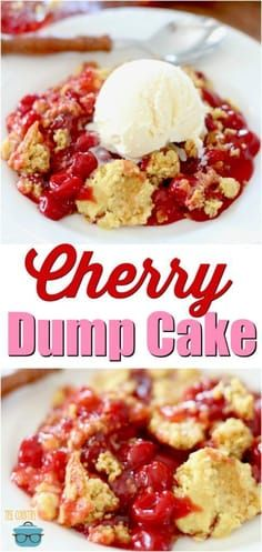Easy Cherry Dump Cak Easy Cherry Dump Cake recipe from The Country Cook -- An easy dump cake that combines all your favorite flavors. Fluff Desserts, Cherry Desserts, Cherry Recipes, Köstliche Desserts, Delicious Desserts, Dessert Recipes, Homemade Desserts, Southern Desserts, Health Desserts