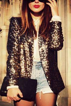 Bronze metallic glitter blazer, high waisted denim shorts and black clutch.