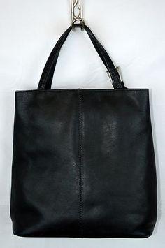 TANO Italian Black Leather Mini Tote Bag Kelly Style Purse
