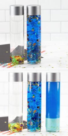 Sensory Bottles Preschool, Glitter Sensory Bottles, Glitter Jars, Sensory Bins, Rainbow Sensory Bottles, Sensory Bottles For Toddlers, Sensory Wall, Sensory Boards, Glitter Crafts
