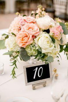 Beautiful centerpieces with chalkboard table numbers! Great idea.   #weddingplanning #weddingideas #weddings #weddingdetails