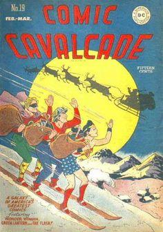Comic Cavalcade G 1947 classic Christmas cover Dc Comic Books, Comic Book Covers, Comic Art, Superman, Batman, Dc Comics, Christmas Cover, Retro Christmas, Christmas Holiday