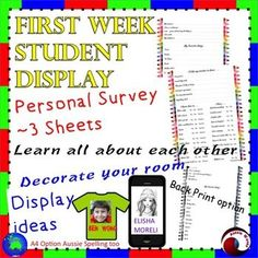 Back to School Activity for Primary or Elementary students. This is a great, printable activity for the first week!  At the end of the week, students have set goals for the year; finished and published a piece of writing and made a wonderful, attractive display for the classroom. It helps will help you get to know the students and recognize their talents and abilities in an informal way. It encourages the children to chat, compare notes and get to know each other.