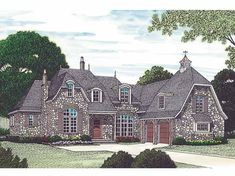 Eplans European House Plan - Wonderful Stone Retreat - 6437 Square Feet and 5 Bedrooms(s) from Eplans - House Plan Code HWEPL13404