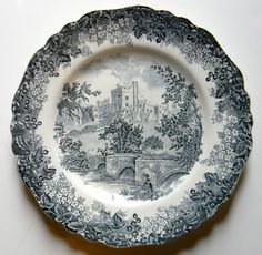 Black ish Gray Toile Plate English Transferware Bridge Castle Horseman Fisherman Haddon Hall