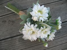 SILK Daisy Bouquet whites creams and silver. by Keepsakebouquets