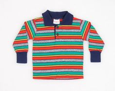 Vintage Toddler Boy Shirt 1980s 80s Thin T Shirt Polo Shirt Tshirt Rainbow Striped Health Text Shirt 2t 2 Toddler Boys Preppy Long Sleeve #vintage #etsy #80s #1980s #toddler #kid #child #polo #boy #baby