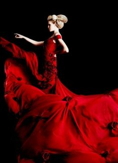 Red gown, haute couture, fabric manipulation