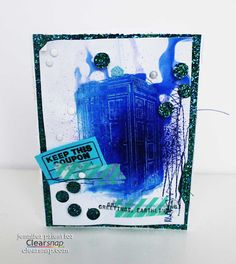 """Dr. Who #mixedmedia inspired greeting card by designer Jennifer Priest using Clearsnap® inks & sprays and Viva Las Vegastamps! """"Blue Police Box by Susan M. Brown"""" #19054. www.vlvstamps.com"""