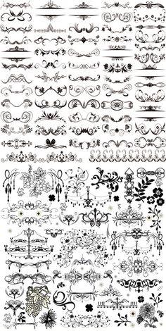 Calligraphic design elements and page decoration Graffiti Lettering Fonts, Lettering Design, Tatuagem Diy, Page Decoration, Cursive Alphabet, Creation Deco, Border Design, Letter Art, Bullet Journal Inspiration
