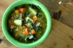 Beef & Kale Soup Recipe Soups with ground beef, onions, carrots, medium potatoes, kale, garlic, squash, bone broth, italian seasoning, sea salt