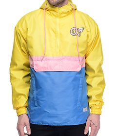 Head to the docks and sail off into the sunset with the stand-out styling of the Color Block anorak jacket in yellow, blue and pink from Odd Future that has a water resistant construction and a black mesh lining for comfort. Add a pair of loafers and past