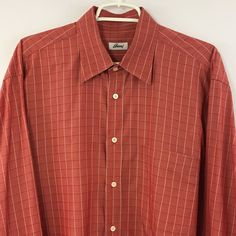 Brioni Men's XL Shirts Plaid Long Sleeve Light Red 100% Cotton Made in Italy #Brioni