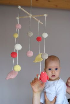 Birds Mobile - Crochet Birds Mobile - Coral/cloudy pink/yellow/ivory/beige Bird Ball mobile - Baby nursery decor - Spring mobile