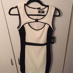 GUESS Dress Black & white dress with cutout front and zipper back. Brand new with tags. Guess Dresses