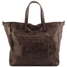 Annie - Shoppingveske / handlebag - Vintage look i skinn - Mørk Brun
