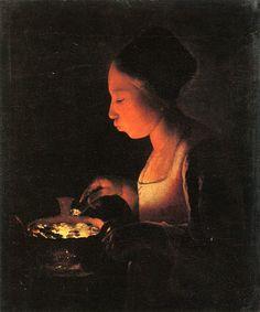 Georges de la Tour, A Girl Blowing on a Brazier, ca. 1645
