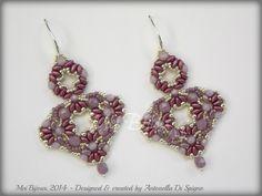 DIY Beading pattern Ranya earrings with Superduo by MeiBijoux