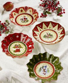 """Villeroy & Boch Christmas bowls, """"Toy's Fantasy""""  same type of Christmas bowls I have at home that I first found at a thrift store for next to nothing!!!"""