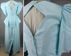 This glamorous vintage 80s formal prom dress has puff and ruffle in a light aqua-green color. The bodice has a cross-body treatment with a
