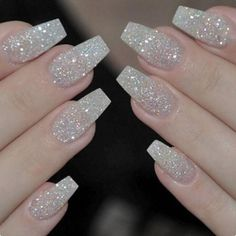 There are three kinds of fake nails which all come from the family of plastics. Acrylic nails are a liquid and powder mix. They are mixed in front of you and then they are brushed onto your nails and shaped. These nails are air dried. Glitter Tip Nails, Sparkly Nails, Pink Nails, Silver Sparkle Nails, Silver Acrylic Nails, Gold Manicure, Glitter Art, Acrylic Nail Designs Glitter, Manicure Ideas