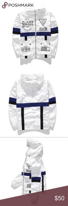 """""""Space Theme"""" Windbreaker (White) Visit our website to get this item for cheap(er). Link in bio www.distinctaddictionn.com                                                   Available color(s): White & Black Available Size(s): M, L, XL  true to size*   Bundle to save on shipping cost 💕 Same/Next Day Shipping/ Price is Firm 😘 Jackets & Coats"""