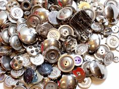 Mixed Silvertone Metal Buttons, New Old Stock Garment Buttons, 200 pieces Lot #4