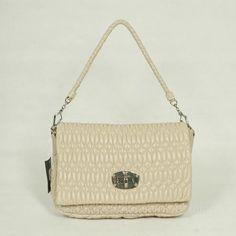 Miu Miu Cream Lambskin Shoulder Bags