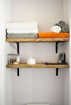 John and Jaime's Contemporary Woodland Escape (Green Tour) : Apartment Therapy. Love these shelves for our bathroom! House Design, Decor, House Interior, Wood Shelves, Home Organization, Home, Home Diy, Shelves, Home Decor