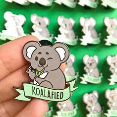 Koalafied Hard Enamel Pin // kawaii, Koala, bear, funny, pun, animal, qualified, lapel, badge, brooch, gold, eucalyptus
