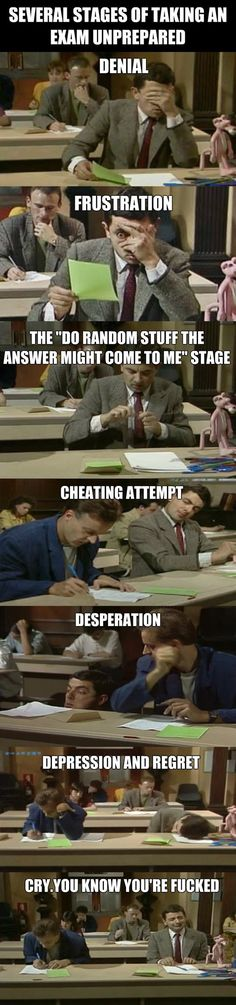 Taking an exam unprepared…