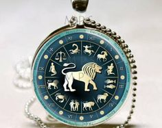 Leo Necklace Zodiac Jewelry Astrological Sign Lion July August Birthday Astrology Art Pendant with Ball Chain