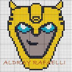 Bumblebee Transformers pattern by Aldray Ferreira Cross Stitch Art, Cross Stitching, Cross Stitch Patterns, Stitching Patterns, Knitting Charts, Knitting Patterns, Crochet Patterns, Blanket Patterns, Easy Pixel Art