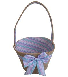 Easter Basket With Fabric Lining-Chevron