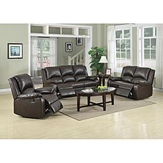 @Overstock - This luxurious reclining sofa set features a plush sofa with matching reclinable loveseat and reclinable chair. This sofa set features polyurethane upholstery in a solid brown design and a medium seating comfort.http://www.overstock.com/Home-Garden/Patricia-Dark-Brown-Reclining-Sofa-Set/6535452/product.html?CID=214117 $1,217.99