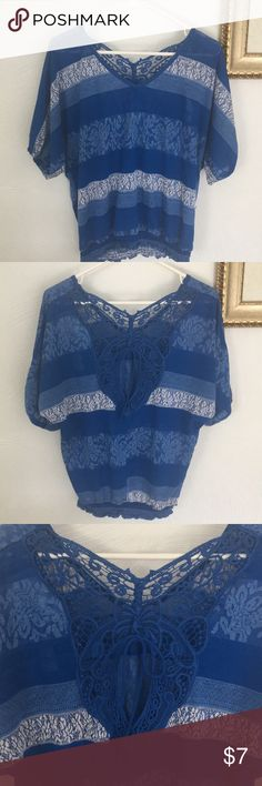 Blue Lacy Shirt Lacy sheer fabric, detailed back Tops Tees - Short Sleeve Blue Lacy, Sheer Fabrics, Lace Shorts